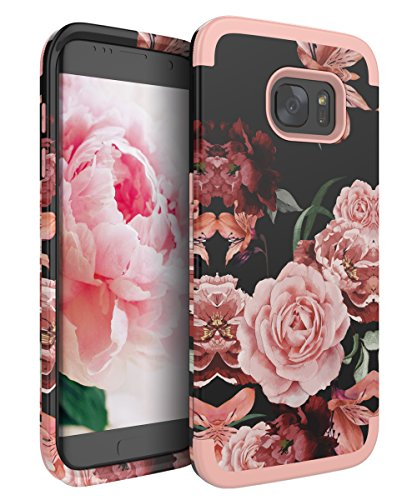 RabeMall Samsung Galaxy S7 Edge Case Unique Pretty Flowers for Girls/Women Anti-Fingerprint Three Layer High Impact Resistant Hybrid Shockproof Protective Cover,Floral Rose Gold