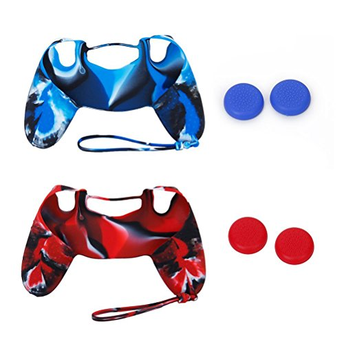 WINOMO Remote Controller Protector 2 Sets Replacement Soft Silicone Protective Skin Case Covers and Joystick Thumbstick Caps for Sony PlayStation 4 PS4 Controller (Blue+Red) (Silicone Skin Case Set)
