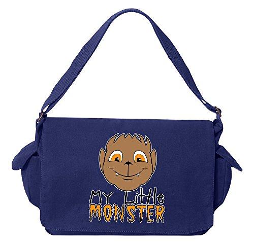 Monster Carrying Man Costume (Tenacitee My Little Monster Wolf Boy Royal Blue Brushed Canvas Messenger Bag)