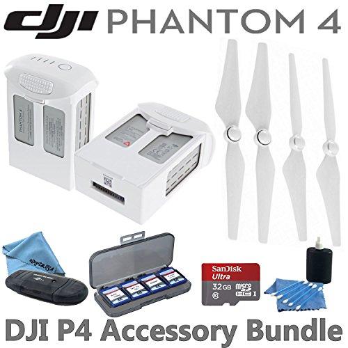 DJI-Phantom-4-Accessory-Bundle-Includes-2-Intelligent-Flight-Batteries-2-Pairs-of-DJI-9450S-Quick-Release-Propellers-SanDisk-32GB-MicroSD-Card-Reader-Wallet-eDigitalUSA-Cleaning-Kits