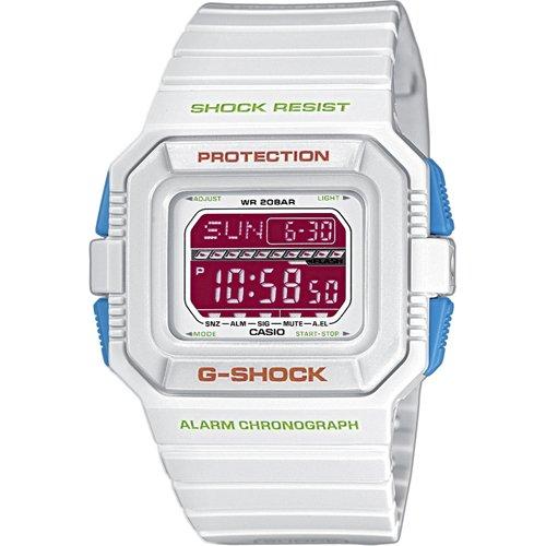 Casio G-Shock - Reloj digital de caballero de cuarzo con correa de resina blanca (alarma, cronómetro, luz) - sumergible a 200 metros: Amazon.es: Relojes