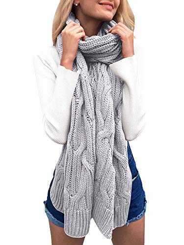 Beautife Womens Soft Winter Knitted Scarves Cable Knit Neck Warmer Long Scarfs Shawl