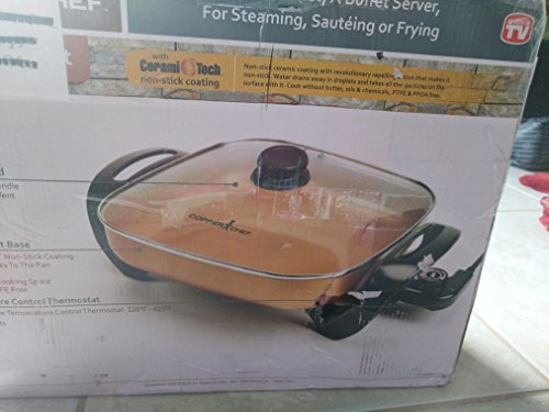 Copper Chef Electric Skillet - Buffet Server - for Steaming Sauteing or Frying