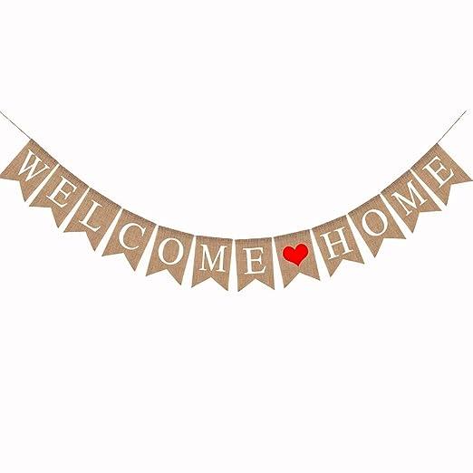 Guirnalda Welcome Home Banderines Bienvenido a Casa Decoración Fiesta Comunión Cumpleaños Jardín Hogar