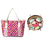 iSuperb Diaper Handbag Mummy Tote Bag Roomy Nursing Shoulder Bag 14.6 x 11.4 x 6.3 inch (Rose with Colorful Heart)