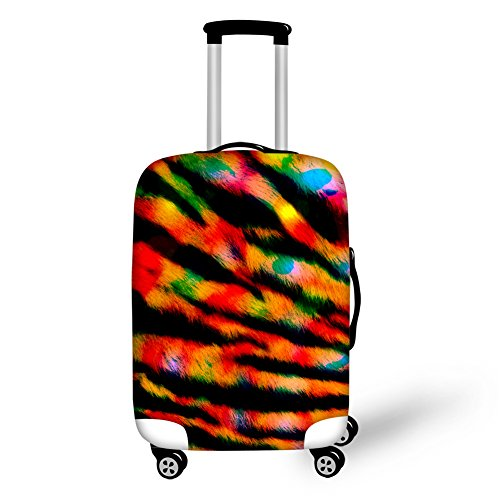 HUGS IDEA Tiger Striped Pattern Travel Luggage Suitcase Protective Dust Cover for 26/28/30 Inch