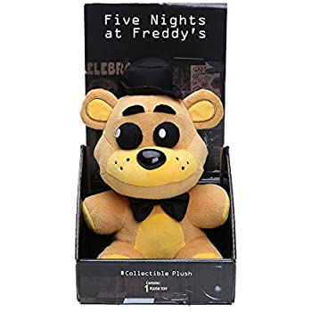 Nightmare Five Nights At Freddys FNAF Freddy Bear Foxy Chica Bonnie Plush Toys (Gold Black Hat)