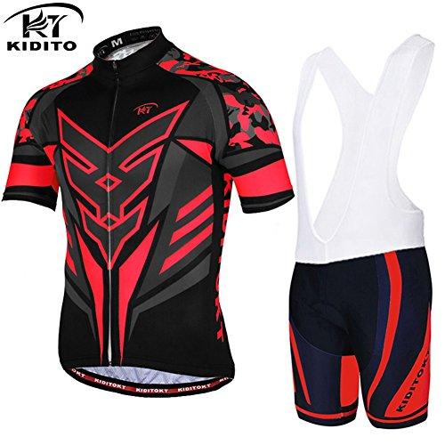 ZZY Maillot de cyclisme neutre pour homme manches courtes avec cuissard à bretelles - Respirant/transpirant/Wear Imperméable Vélo 3D Coussin rembourré Shorts