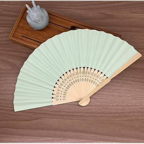 Light Green Mulit Colors Paper Bamboo Folding Hand Fan Decoracion Fiestas Decoration Mariage Abanicos Para Boda