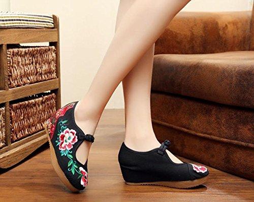 aumentados Lino Tend¨n Femeninos Zapatos Manera xiezi lenguado Zapatos Estilo black c¨modo zl Bordados ¨¦tnico del Ocasional qHnYPtv