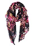 #6: GERINLY Lightweight Scarves: Fashion Flowers Print Shawl Wrap For Women