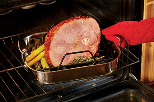 All-Clad E752S264 Stainless Steel Dishwasher Safe Small 11-Inch x 14-Inch Roaster with Nonstick Rack Cookware, 14-Inch, Silver by All-Clad (Image #6)