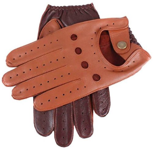 Dents Mens Two Tone Leather Driving Gloves - Cognac/English Tan - Large