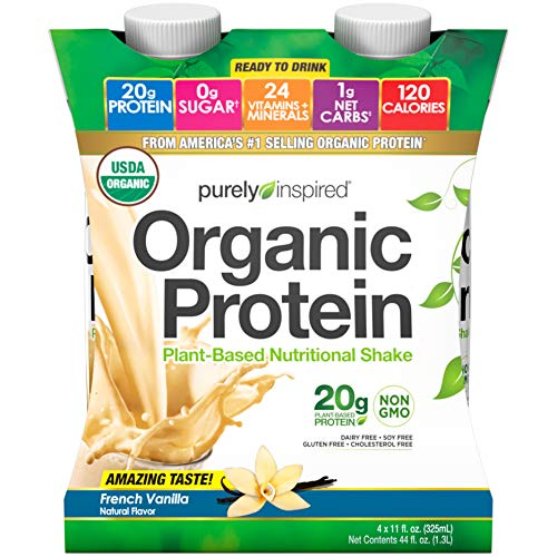 Purely Inspired Organic Protein Shake, Ready to Drink, 20g Plant Based Protein, No Sugar, Low Carbs, Naturally Flavored, French Vanilla , 4 count
