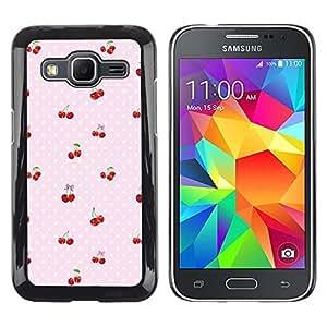 Modelo de la cereza del lunar Bayas Rosa - Metal de aluminio y de plástico duro Caja del teléfono - Negro - Samsung Galaxy Core Prime