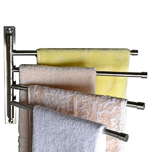 mufly-us Wall-Mounted Stainless Steel Swing Out Towel Racks for Bathroom Holder Towel Bars with Hooks 4-Arm (4-Arm, Grey)