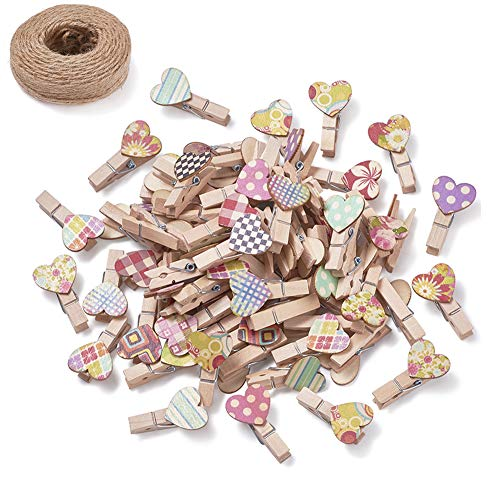 Pandahall 100pcs Mixed Color Wood Clothespins with 32.8 Yards Natural Jute Twine 37.5x21x11mm Wooden Photo Paper Peg Pin Graft Clips for Paper Photo Display Hanging Home Party Decoration