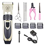 Dog Grooming Clippers, Professional Pet Grooming Kit Low Noise Pet Clippers Rechargeable Pet Shaver Cordless Silent Dog Hair Trimmer with 4 Comb Attachments & Scissors Nail Kits for Dogs Cats and Pets