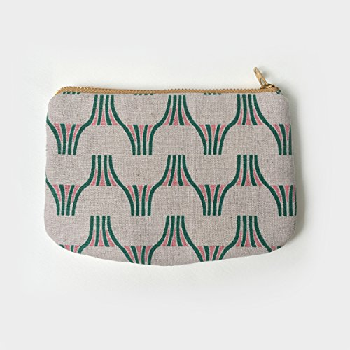 Small Zip Pouch, Wallet, Canvas, Geometric, Mountain, Minimal, Holiday Gifts, Unisex, Japanese, Padded, Small Gadget Bag, Green