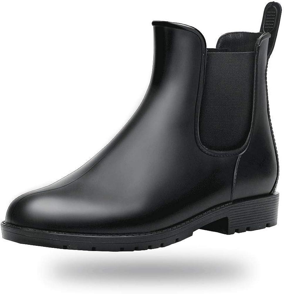 Amazon Com Babaka Women Rain Boots Waterproof Ankle Garden Shoes Anti Slip Chelsea Booties Rain Footwear