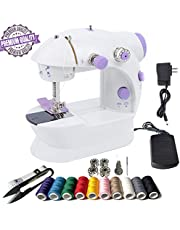 Mini Sewing Machine Portable Sewing Machine 26 Packs Sewing Machine with Kits for Beginner Thread Scissors Threader Bobbins 2 Sewing Speed