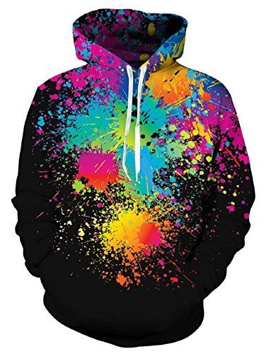 uideazone Women Mens Print Graffiti Hooded Sweatshirts Pullover Hoodie ()
