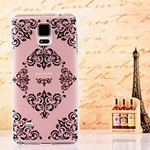 QYF 20150511 Black Flower Palace Pattern Dermatoglyph Hard Case Cover for Samsung Galaxy Note 4
