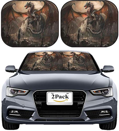 MSD Car Sun Shade Windshield Sunshade Universal Fit 2 Pack, Block Sun Glare, UV and Heat, Protect Car Interior, Image ID: 29391993 War with The Dragon on ()