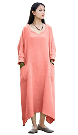78151ccc99f Soojun Women s Casual Cotton Linen Long Dress with Batwing Sleeve ...