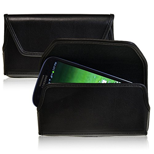 Turtleback Samsung Galaxy S3 III Black Leather Holster Case Pouch with Flush Belt Clip - Made in USA
