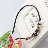 Pyrsun(TM) Women Metal Hollow Flower Hair Accessories Headbands Rhinestone with Black Pearl Hair Bands Good Qulity Hair Decoration