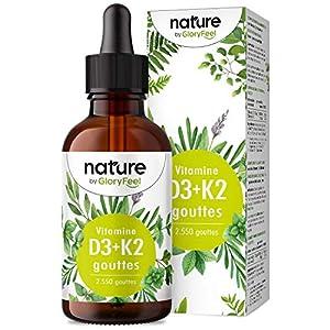 Vitamine D3 + K2 en Gouttes 75ml, Vitamine D3 10.000 UI pour 10 Gouttes + Vitamine K2 MK7 99,7+% All-Trans (K2VITAL® by…