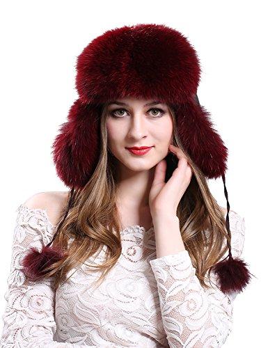 288a2dc30273e LITHER Women s Winter Trapper Hat Genuine Fox Raccoon Fur Russian Ushanka  Hat