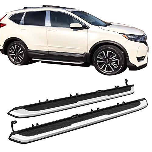 Running Boards Fits 2017-2019 Honda CRV CR-V | OE Style Silver With Black Aluminum Side Step Bars Rail Nerf Bars Pairs by Ikonmotorsports | 2018 17 18 19