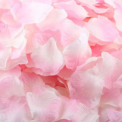 DDLBiz 2000pcs Romantic Sweet Rose Flowers Silk Rose Petals Artificial Flower Wedding Decor Candlelight Dinner Confetti (Pink+White)