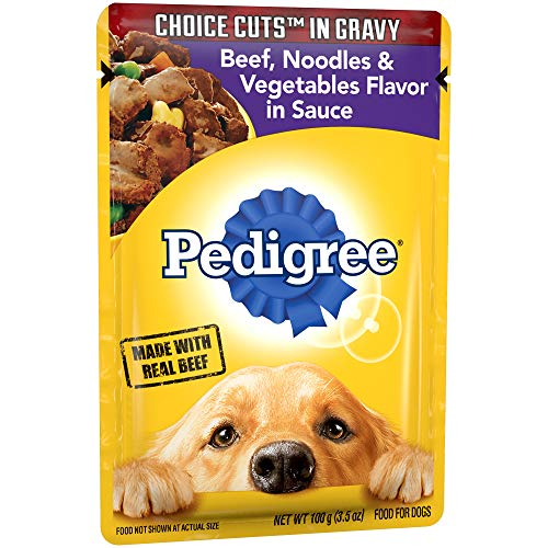 Pedigree Choice Cuts In Gravy Beef, Noodles And Vegetables Flavor In Sauce Adult Wet Dog Food, (16) 3.5 Oz. Pouches