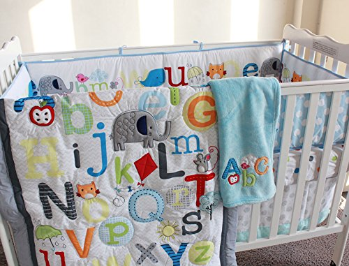 NAUGHTYBOSS Baby Bedding Set Cotton Early Education 3D Embroidery Letter Elephant Quilt Bumper Mattress Cover Blanket 8 Pieces Blue by NAUGHTYBOSS (Image #2)