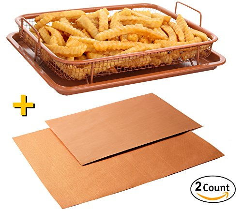 Copper Baking Sheet Air Fryer - Deluxe Multi-Purpose Copper Crisper Chef Pan Sheet with Non Stick Mesh Grill Crisper Tray - Oven Safe Non-Stick Square Pan Design