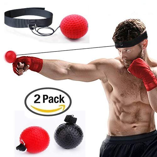 FT Boxing Reflex Balls, 2 Boxing speed Balls with Headband,2 Levels- black ball (23g) for novices. red (85g) for the experienced for SPEED, REFLEXES, TIMING & HAND EYE COORDINATION --- PLUS FREE BOXING FOOTWORK CHART !!!! -Used by Professional MMA, UFC