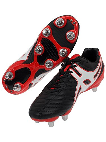 GILBERT Sidestep XV LO 6 Stud Bota rugby hombre negro/ rojo