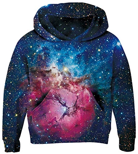 Plush Lining - UNICOMIDEA 11-14 Years Sweater Kids's Funny Hoodies Cute 3D Digital Galaxy Pattern Long Sleeve Galaxy Pullover with Plush Lining,Blue