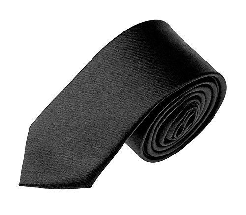 Solid Color Boys Tie Children and Teen's Skinny Necktie 2.5 inches (Boys Black Satin)