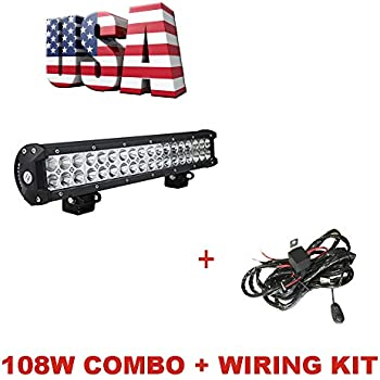 amazon com sldx 108w 17inch 7200lm spot flood combo led light bar topcarlight 17 108w led flood spot combo beam light bar off road lamp for truck car atv 4wd suv jeep waterproof wiring harness