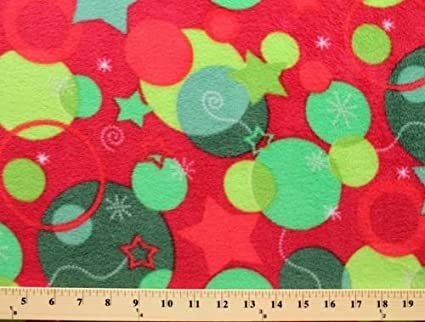 christmas snowflakes ornaments stars on red fleece fabric print by the yard 8490z 11h