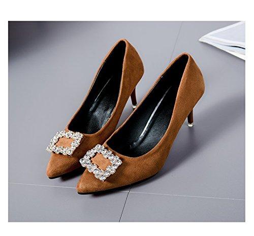 bocca lo punta solo profonde poco 36 Heel raso giallo zenzero Le scarpe donna e in confortevole da High scarpe qvntZ