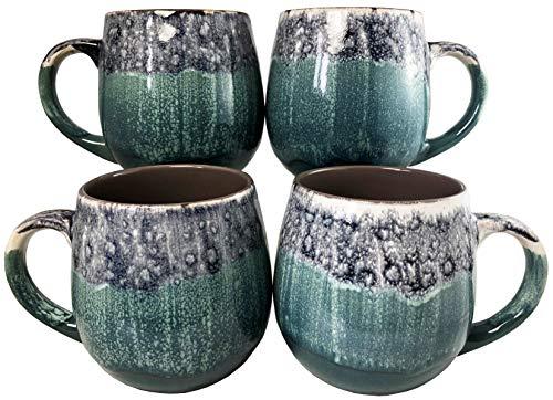 Reactive Glaze Coffee Mugs | Set of 4 (Green) | 20oz Ceramic Barrel Mugs | Microwave & Dishwasher Safe ()