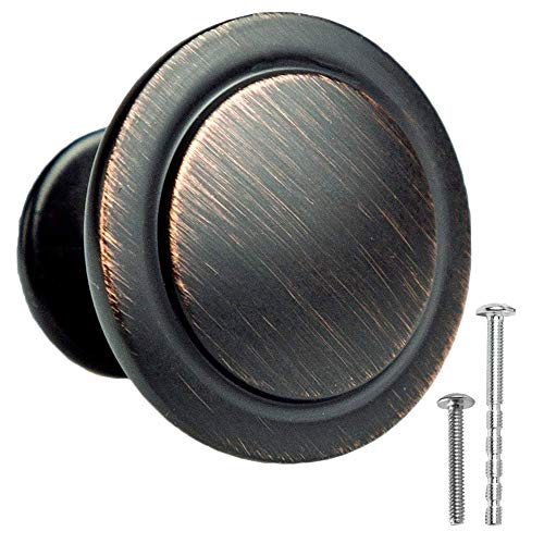 (Oil Rubbed Bronze Kitchen Cabinet Knobs - 1 1/4 Inch Round Drawer Handles - 10 Pack of Kitchen Cabinet Hardware)
