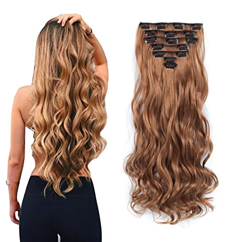 - 7pcs/set Clip in Hair Extensions 20inch Long Wavy Heat Resistant Synthetic Hairpiece Gifts for Girl Lady Women (Light Golden Brown 30#)