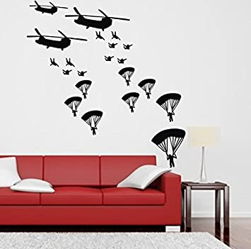 Coavas® Decorative Stickers Army Troops Wall Decals Parachute Soldiers Military Sticker Teens Wall Decals