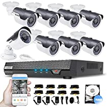 Security Video System 750G DVR with 8 1.3-Megapixel Surveillance Camera Weathproof CCTV Camera System Motion Alert Video Camera System